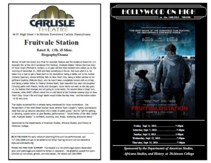 This is a flyer for the Fruitvale Station film sponsored by the department of Africana Studies showing at the Carlisle Theater.