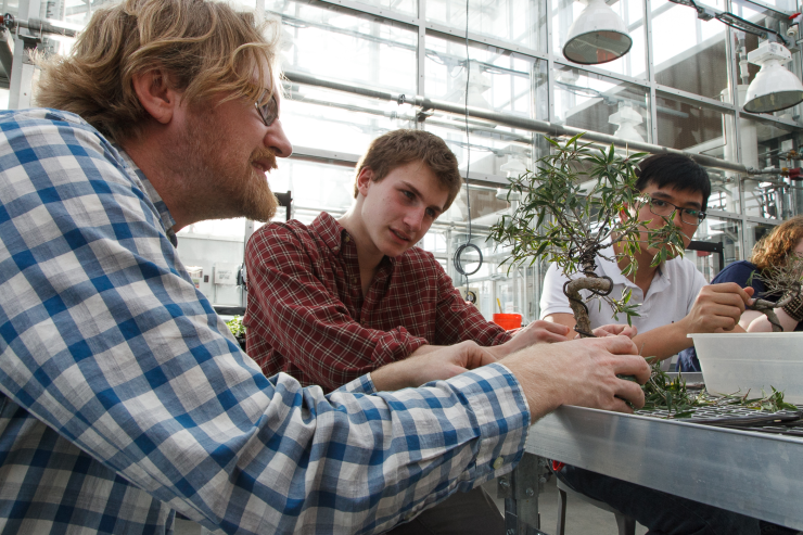 Student and faculty member in the greenhouse.