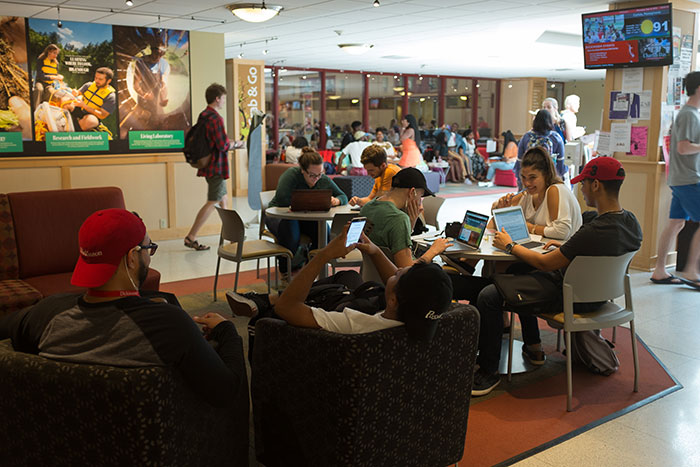 Students in the Hub center