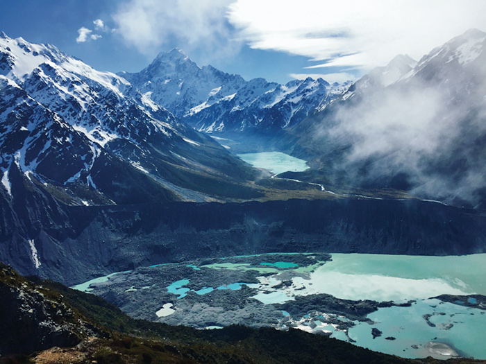 "Least Touristy Travel Photo ""50 shades of blue,"" Mount Cook, New Zealand,  by Jamey Harman '18"