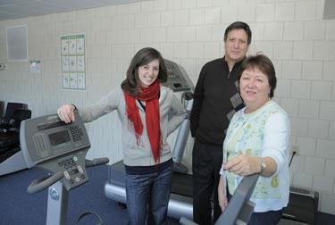 SAGE fitness center with Mary Buckley, David Sarcone, and Judie Brantner