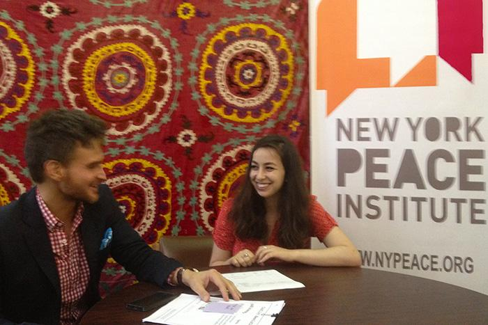 Sasha Shapiro '15 and Brad Heckman '89 at the New York Peace Institute
