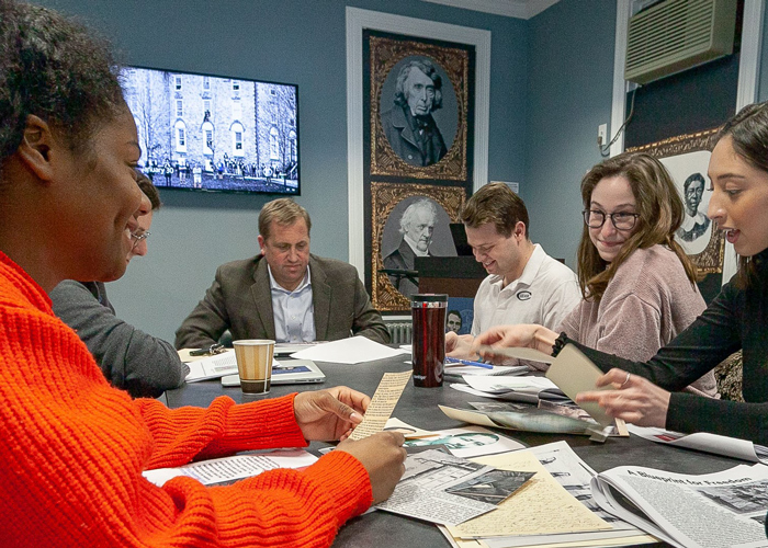 Students in Professor of History Matt Pinsker's class explore historical records.
