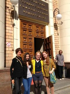 Dickinson-in-Moscow students (2013-2014) stand in from of the main entrance to RSUH.