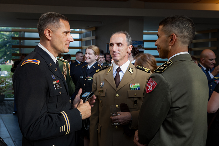 International Fellows from the U.S. Army War College gather at Dickinson's annual reception to honor the special pact between the two institutions and its students.