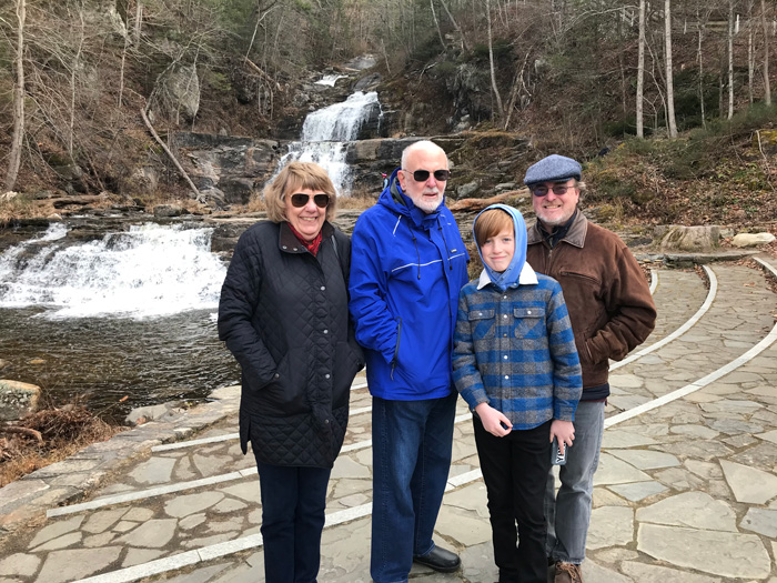 Ed Rockman '63 enjoys Kent Falls with his wife, Mary Ellen; his grandson Michael; and his son-in-law, Chris.