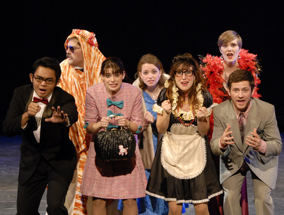 This webpage shows a photo from the Fall 2010 performance of Lucky Stiff.