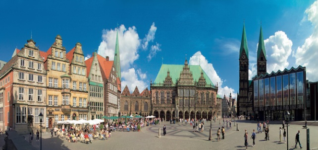 A panorama of a German market plaza.