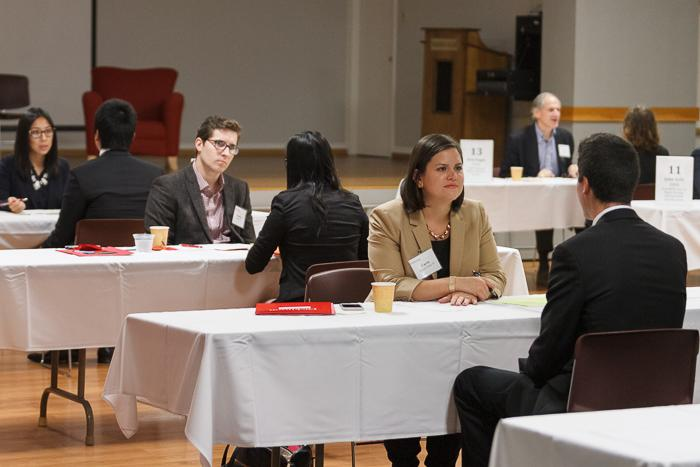 Students and alumni take part in mock interviews during the Career Conference & Volunteer Leadership Summit. Photo by Carl Socolow '77.