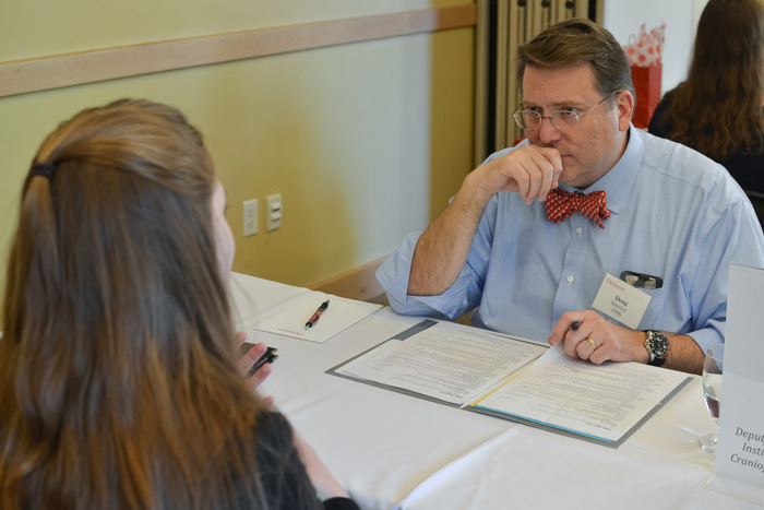 Students and alumni participate in mock interviews during a recent Career Conference on campus.