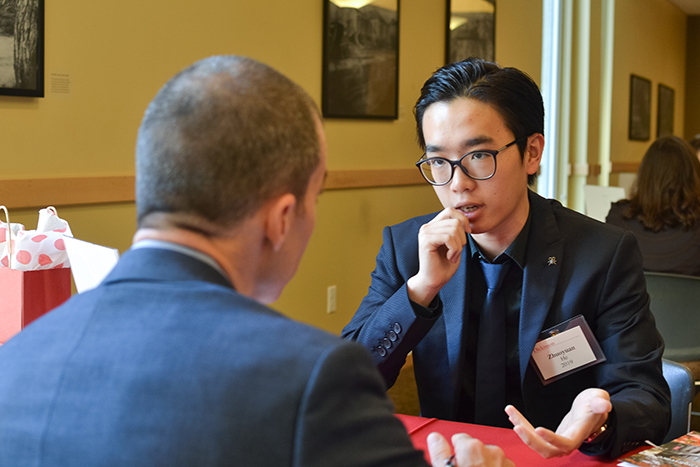 Students had an opportunity to engage in a mock interview with alumni in a variety of fields. Photo by Zöe Kiefreider '20.