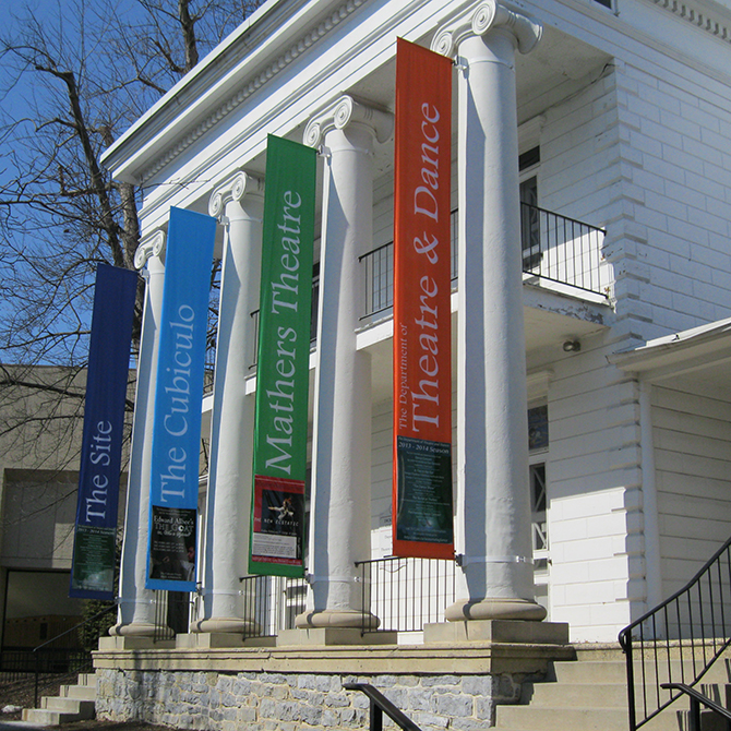 Photo of the new banners displayed on the front of the Montgomery House.