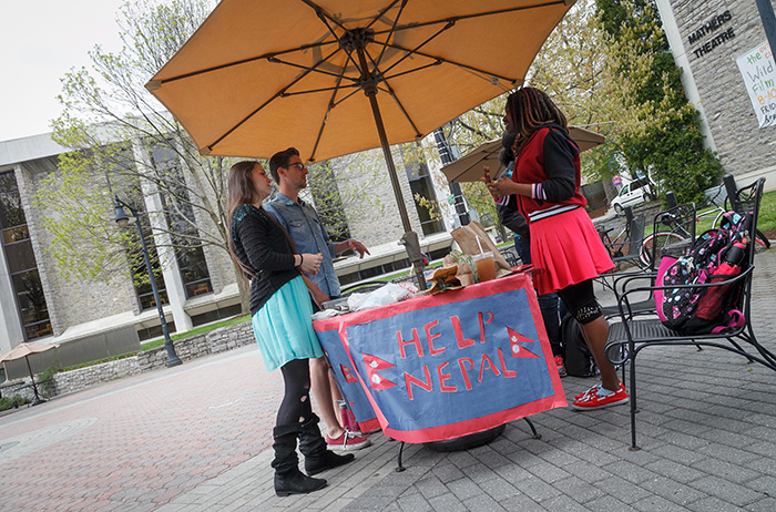 Madonna Enwe '16, a neuroscience major (far right), organized a relief effort for victims of the earthquake in Nepal. Photo by Carl Socolow '77.