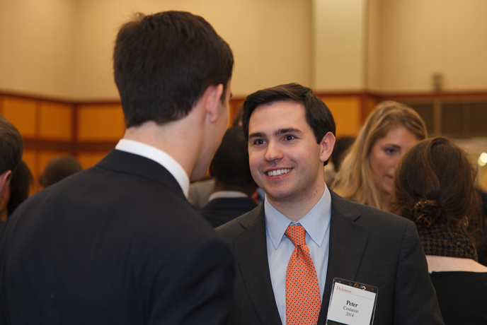 Peter Costanzo '14, an international business & management major, marked his second Networking Day this year.