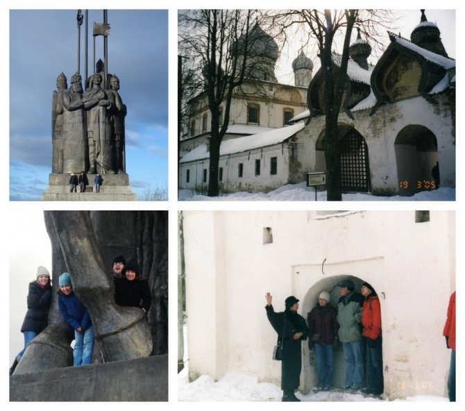 Various photos of Dickinson students exploring the city of Novgorod.