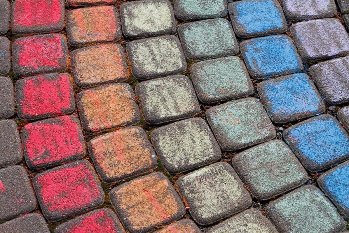 Bricks colored with chalk