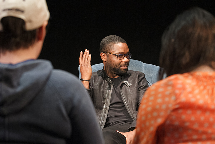 David Oyelowo speaks with students in Karen Kirkham's acting class.