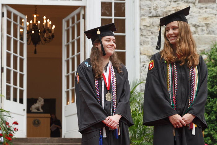 Jillian Paffenbarger '18 (left) and Natalie Ferris '18 earned the The John Patton Prize for High Scholastic Standing and The James Fowler Rusling Prize respectively. Photo by Carl Socolow '77.
