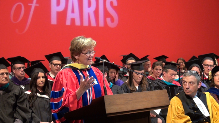n 2015, Ensign received an honorary degree from the American University of Paris for her pioneering academic and humanitarian work