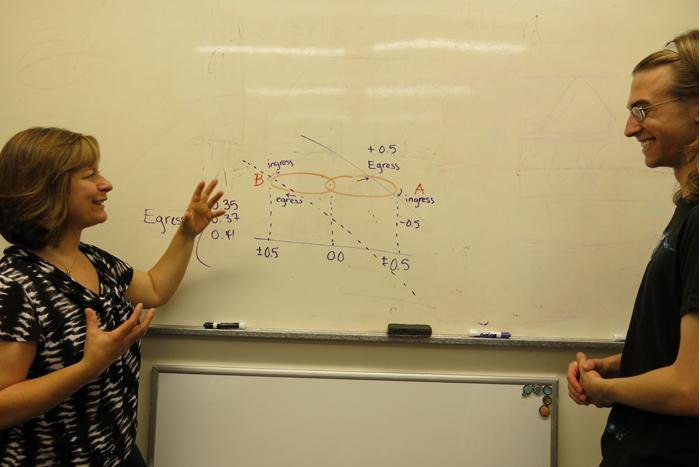 Physics Professor Catrina Hamilton-Drager and Ben Kimock '15
