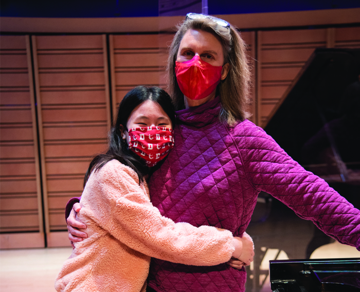 Ruby Ngo '22 (left) and Professor of Music Jennifer Blyth.