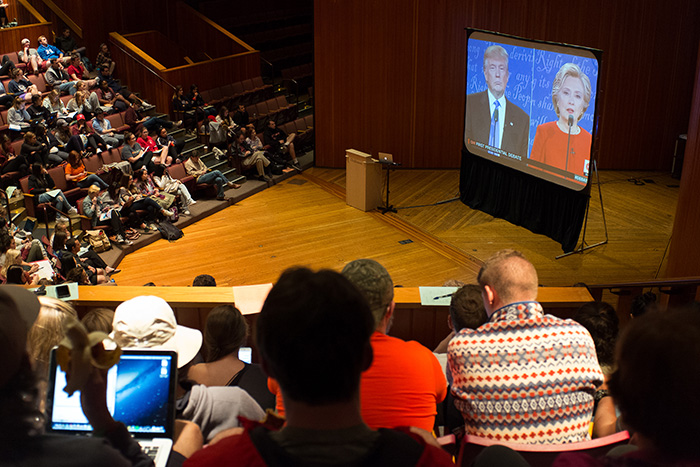 The Sept. 26 debate watch party at Dickinson. Photo by Wes Lickus '17.