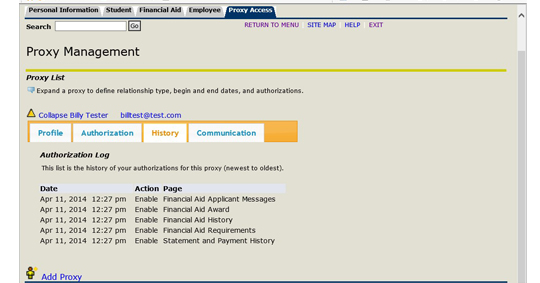 Proxy management history screen shot