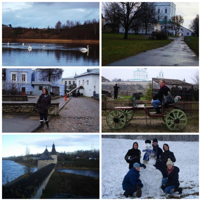 Various photos of Dickinson students experiencing Pskov.
