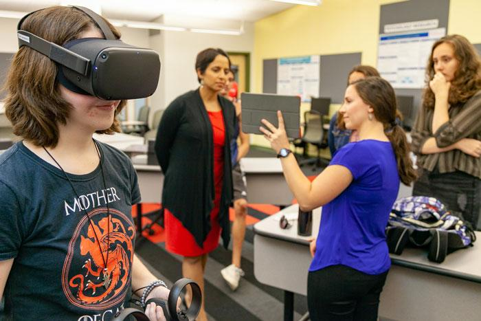 Students use virtual reality to conduct research.