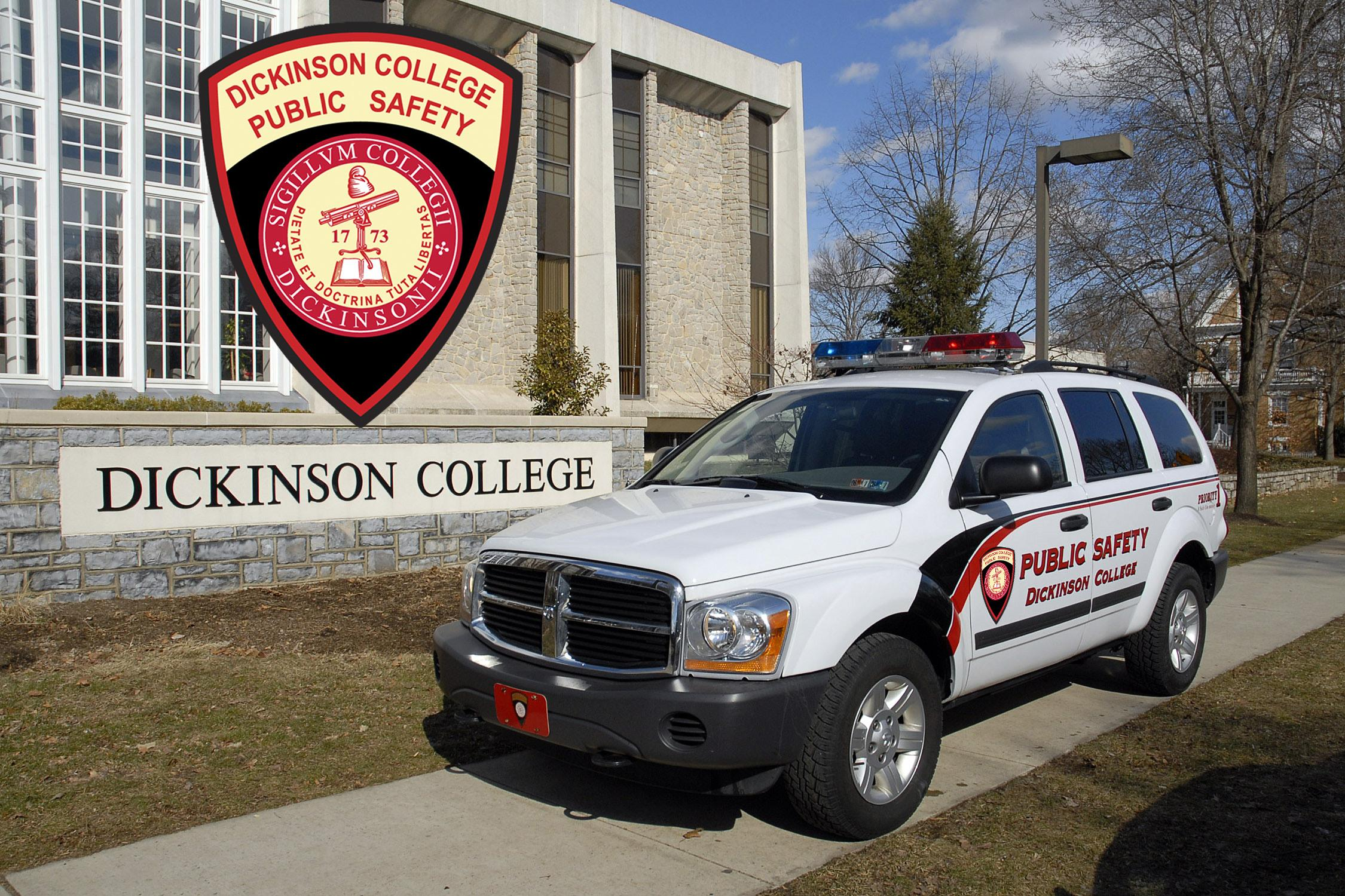 Photograph of a Public Safety vehicle out front the library