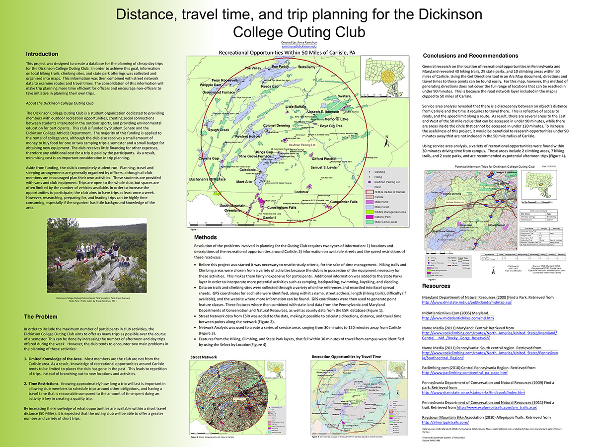 Distance, travel time and trip planning for the Dickinson Outing Club
