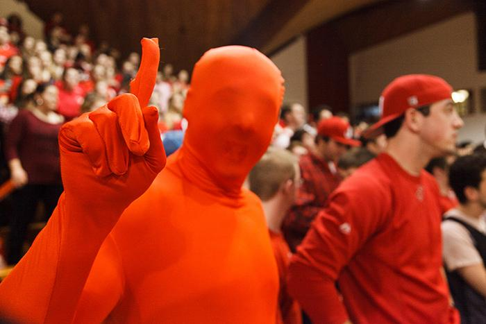 Basketball fans in the Kline Center