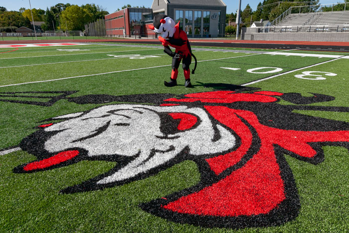 The red devil mascot on Biddle Field