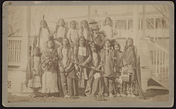 A group of Northern Arapaho and Shoshone children who arrived at Carlisle on March 11, 1881. Image courtesy of Dickinson College Archives & Special Collections.