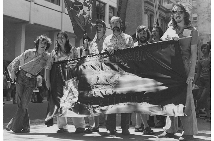 Members of the Pennsylvania Rural Gay Caucus at the Philadelphia Gay Pride Parade, c. 1976. Photo by Bari Lee Weaver.