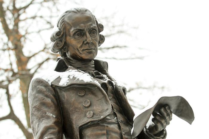 Benjamin Rush statue on the Dickinson campus.