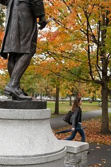 Photograph of Benjamin Rush statue in the Fall