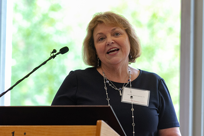 Harriet Marcus Lehman '72 delivers moving remarks during the 2019 Scholarship Luncheon. Photo by Carl Socolow '77.
