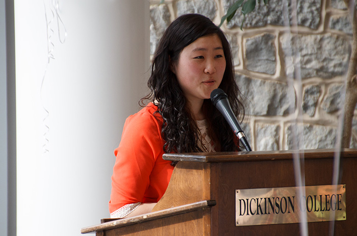 Gloria Hwang '16 delivers a brief address during the spring 2014 launch party for Dickinson Science Magazine.