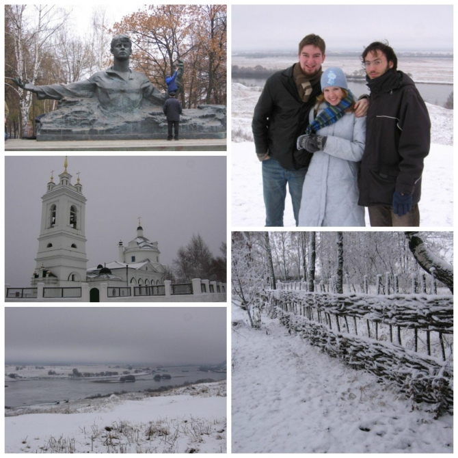 Various photos of Dickinson students experiencing Konstantinovo, the birthplace of the Russian poet Sergei Yesenin.