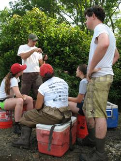 Prossor Scott Boback engages in field research with students.