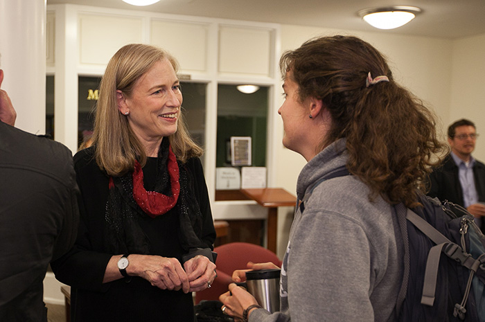 Sylvia Smith '73's residency on campus included a public lecture, classroom visits and studio critiques and an art exhibit of her architectural drawings.