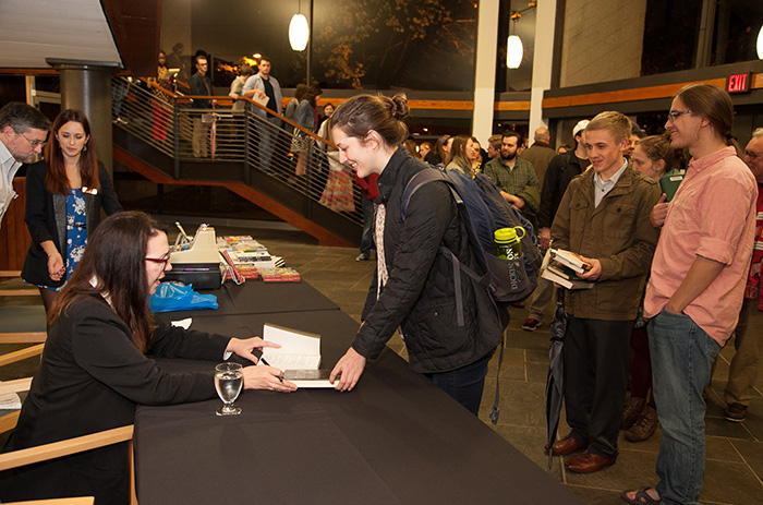 Lorrie Moore signs books after her Nov. 6 reading.