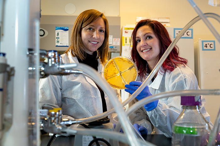 Data collected by a student-faculty research team led by Kristin Strock (left) and Dana Somers has implications for methane emissions from Arctic lakes.