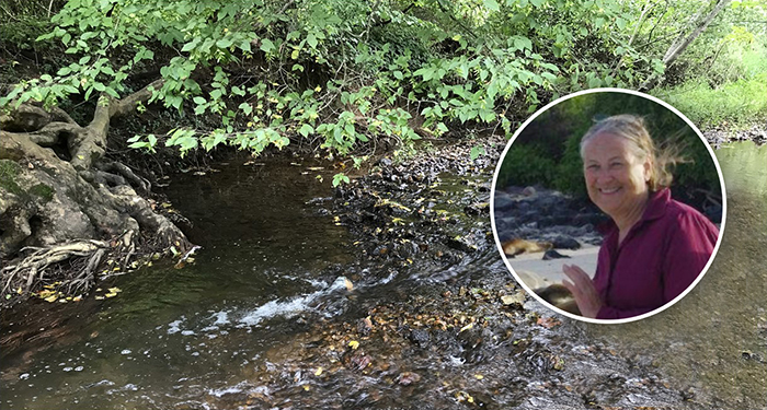 Susanne Lee '67, a former EPA attorney, is auditing an environmental-studies class. For her class project, she collected samples from this stream near her home.