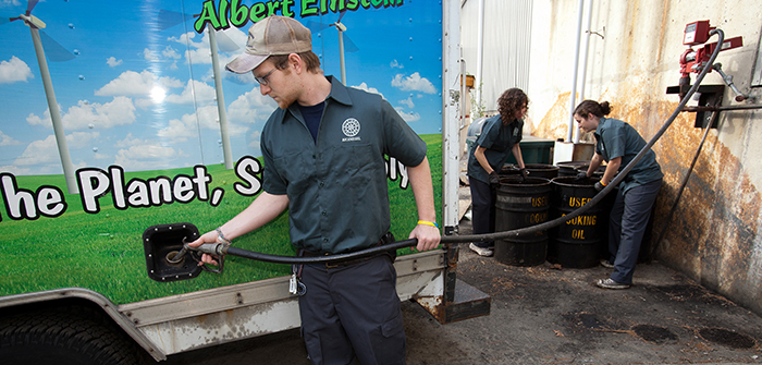 Students fuel campus vehicle with biodiesel.