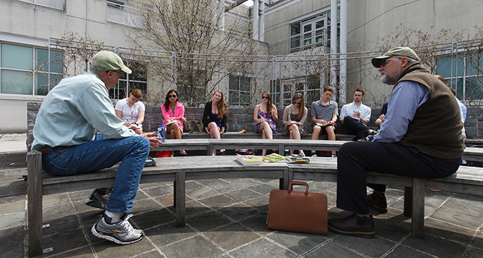 Bill McKibben meets with Eco-criticism class for outdoor discussion.