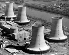 Photograph of nuclear power plant on three mile island.