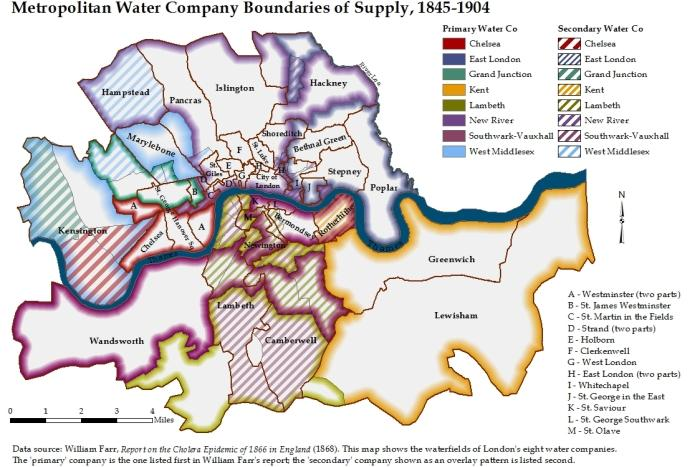 A map shows how cholera spread through London's water-supply system.