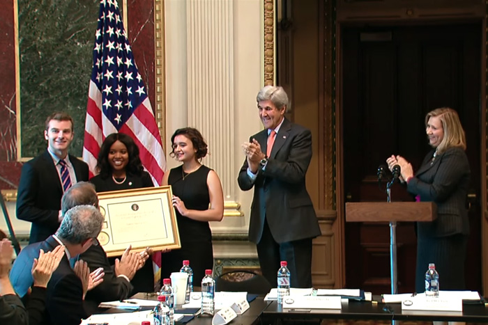 Daniel Becker receives an award at the White House.